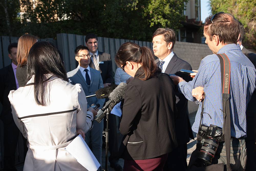 Minister for Roads and Road Safety Luke Donellan talking to the media.